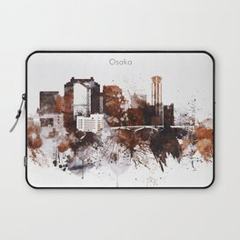 Brown Watercolor Osaka skyline design Laptop Sleeve