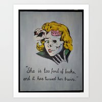 She is too Fond of Books Art Print
