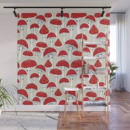 Red mushrooms on the light background Wall Mural