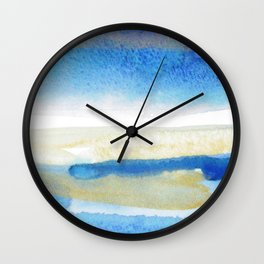 Color meditation: Blue and gold Wall Clock