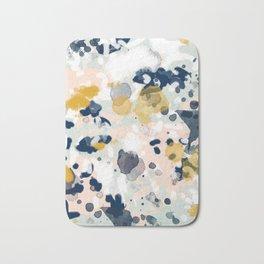 Noel - navy mint gold painted abstract brushstrokes minimal modern canvas art painting Bath Mat