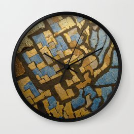 Gold cubic Eiffel tower close up Wall Clock