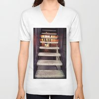 concrete V-neck T-shirts featuring Concrete stairway by Emily Lomax