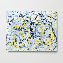 Abstract in Blue, Yellow and Black Metal Print
