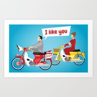 pee wee Art Prints featuring Pee-Wee and Dottie by SoSam