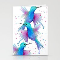 craftberrybush Stationery Cards featuring Hummingbird watercolor  by craftberrybush