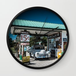 Vintage Gas Station On Route 66 in Ash Grove Missouri Wall Clock