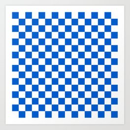 Gingham Brilliant Blue Checked Pattern Art Print