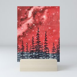 """Red Milky Way"" Galaxy watercolor illustration Mini Art Print"