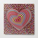 multi-colored rainbow heart on dark brown background. 3D by ekaterinap