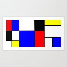 Red Blue Yellow squares design Art Print