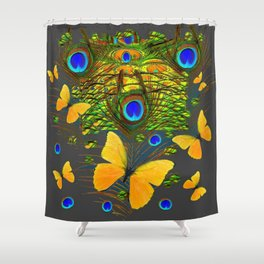 GREEN PEACOCK FEATHERS YELLOW BUTTERFLIES Shower Curtain