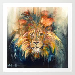 Lion Oil Painting Art Print