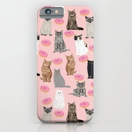 Cats with donuts cute cat breeds cat portraits pet portrait cat lady hipster gifts sprinkle donut iPhone Case