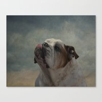 bulldog Canvas Prints featuring Bulldog by Mary Kilbreath