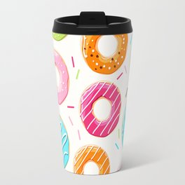 Colorful top view donuts and sprinkles pattern Travel Mug