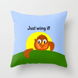 Just Wing It, Bird with a broken Wing Throw Pillow