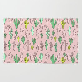 Green & Yellow Cactus on Pink Rug