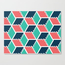 colorful pattern background with rhombus and cubes Canvas Print