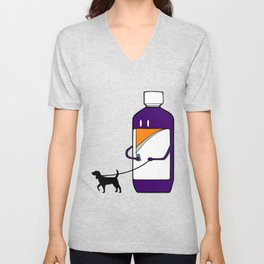 Codeine Bottle Walking the Dog Unisex V-Neck