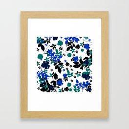 cobalt leaves Framed Art Print
