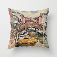 Colors of Burano Throw Pillow
