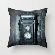 Silver Steampunk Generator Machine Throw Pillow
