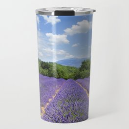 wooden shutters, lavender field Travel Mug