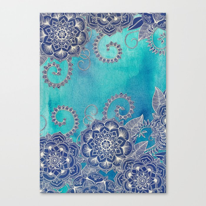 Mermaid's Garden - Navy & Teal Floral on Watercolor Canvas Print