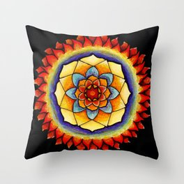 Sun and Flame Mandala Throw Pillow