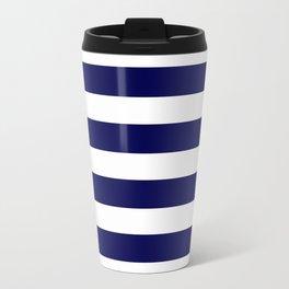 Navy Blue & White Stripes- Mix & Match with Simplicity of Life Travel Mug