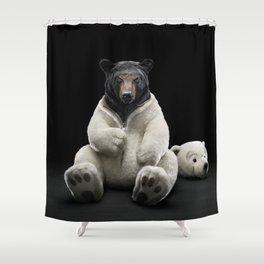 Black bear wearing polar bear costume Shower Curtain
