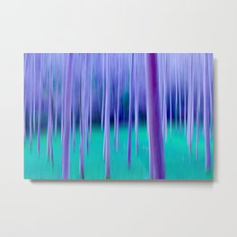 Abstract Trees in Blue Metal Print