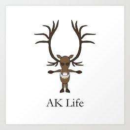 AK Life Caribou Art Print