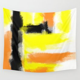 orange yellow and black painting abstract with white background Wall Tapestry