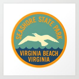 Seashore State Park Virginia Beach Camping Seagull Vintage Art Print