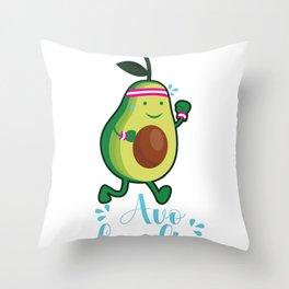 Avocado Cardio Sport Movement Heart Funny Gift Throw Pillow