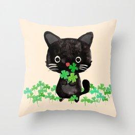 The Luckiest Cat Throw Pillow