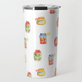 Autumn Seasonal Cooking Pattern With Honey, Jam and Preserves in Glass Jar Travel Mug