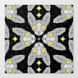 Sphynx Cat Black Pattern Canvas Print