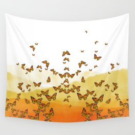 Monarch Butterflies on Watercolor Ombre Background Wall Tapestry