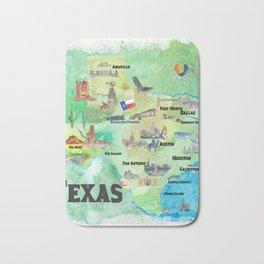 USA Texas Travel Poster Map With Highlights Bath Mat