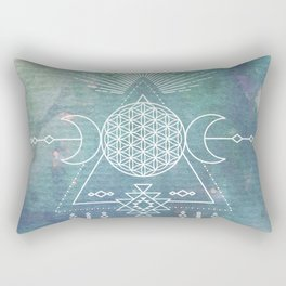 Mandala Flower of Life in Turquoise Stars Rectangular Pillow