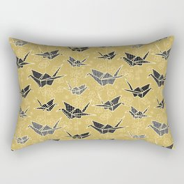 Black and Gold Japanese Origami Cranes Rectangular Pillow