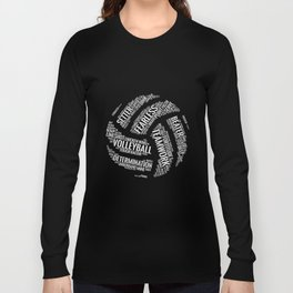 White Volleyball Wordcloud - Gift Long Sleeve T-shirt