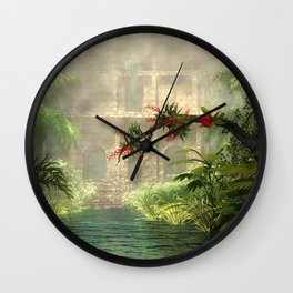 Lost City in the jungle Wall Clock
