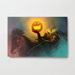 Headless Horseman: All Hallows' Eve Greetings Metal Print