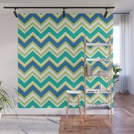 Pastel green yellow blue modern zigzag chevron pattern Wall Mural
