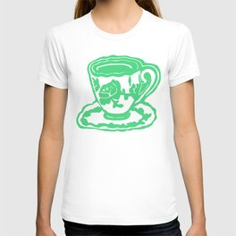 Green Rose Teacup Printmaking Art T-shirt