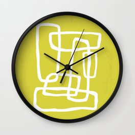 Abstract Interlocking Shapes No. 1 in Acid Green and White Wall Clock